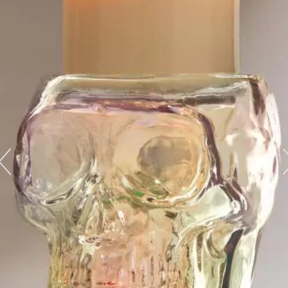 LIGHT-UP SKULL PEDESTAL 3-Wick Candle Holder